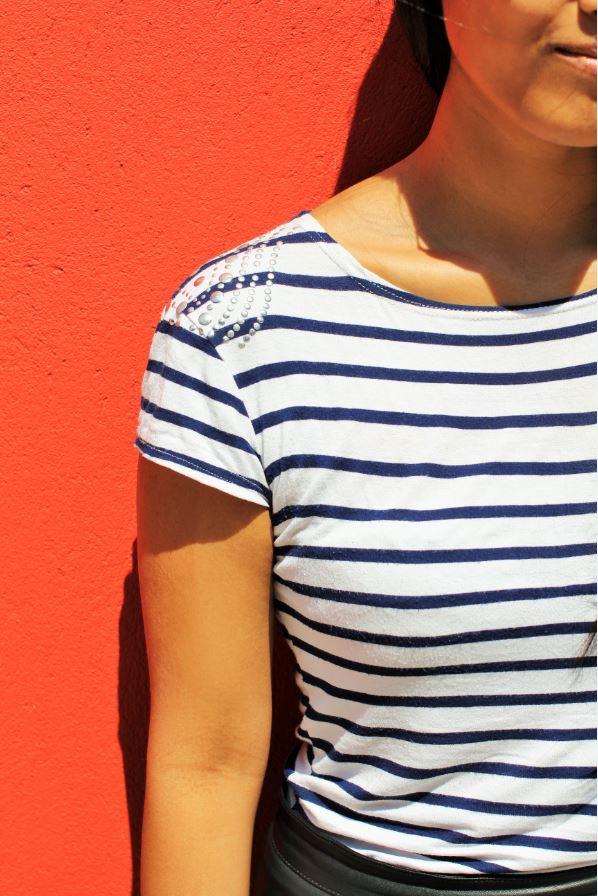 t-shirt marinière clous